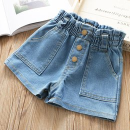$enCountryForm.capitalKeyWord NZ - Fashion kids denim shorts summer girls ruffle elastic high waist jean shorts children double pocket casual cowboy short pants