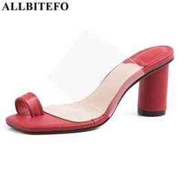 $enCountryForm.capitalKeyWord NZ - ALLBITEFO brand women slippersnatural genuine leather Summer fashion high heel shoes flip flops square heel bling solid