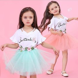 Little Girls Dresses Ruffles Wholesale Australia - Little Girls Skirt Sets Summer Outfit Cotton Ruffle T-shirt white + Tutu Skirts with Flowers Dress Clothes two piece suit Pink