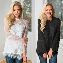 $enCountryForm.capitalKeyWord Australia - Long Sleeve Stand Collar Lace Pullover Women Tops Fashion New Flare Sleeve Lace Blouses Casual Sexy T-shirts