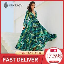 tropical dresses sleeves Australia - Vintacy Long Sleeve Dress Green Tropical Beach Vintage Maxi Dresses Boho Casual V Neck Belt Lace Up Tunic Draped Plus Size