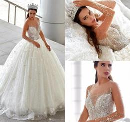 471194665e Beaded sheer Bodice wedding dress online shopping - Luxury Major Beading  Crystals Wedding Dresses Sheer Long