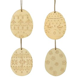 unfinished wood craft wholesalers Australia - Easter Egg Wooden Hanging Pendants Tags Wooden Cutouts Unfinished Wood Crafts With Twine For Easter Decorations D30 2019
