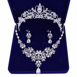$enCountryForm.capitalKeyWord UK - 3PCS Rhinestone Crystal Bridal Jewelry Sets Necklaces Earrings Tiaras Sets African Beads Jewelry Sets Wedding Engagement Jewelry