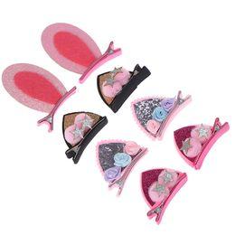 cute cat ears hair clip 2019 - 2pcs Set Cute Hair Clips For Girls Glitter Rainbow Felt Fabric Flowers Hairpins Cat Ears Bunny Barrettes Kids Hair Acces