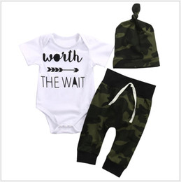 christmas clothes Australia - 3PCS Sets Baby Summer Clothing Set Toddler Short Sleeve Rompers+Camouflage Pants+Hats Infant Clothes Newborn Suit Kids Outfits