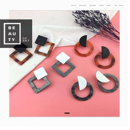 $enCountryForm.capitalKeyWord Australia - Hot Sale Square Acrylic Leopard Acrylic Print Acid Geometric Square Circle Resin Leopard Drop Earrings for Woman 2019