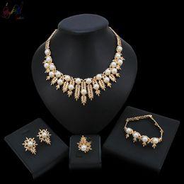 $enCountryForm.capitalKeyWord Australia - Yulaili Wedding Bridesmaid Jewellery Sets For Her White Gold Small Leaf Shape With Pearl Wedding Jewelry Sets