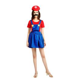 mario costumes women 2019 - Super Mario Bros Female Cosplay Women Costume Mario Dress Cosplay Halloween Christmas Party Role Play(Red) cheap mario c