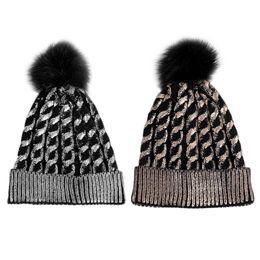 Beanies Braids NZ - Unisex Winter Cuffed Braided Knitted Hat Metallic Gold Coated Glitter Crochet Stretchy Beanie Cap Fluffy Pompom Ball