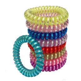Wholesale Fashion Women Girl Hair Coil Rubber Hair Bands Ties Rope Ring Ponytail Holders Telephone Wire Cord Gum Hair Tie Bracelet Stretchy Scrunchy
