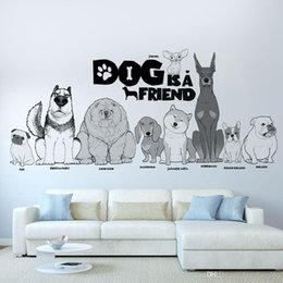 Cartoon Nature Australia - cartoon animal dog is friend Wall Sticker Removable Double Sided Visual Pattern kid's room Home Decoration House Wallpaper wn661