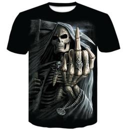 Wholesale black shirt loose skull for sale – custom Summer new men s round neck D digital skull print t shirt men s short sleeve Casual loose printed t shirt men s clothing apparel Sport