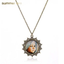 baby links 2019 - Handmade Cute Baby Mom's Love Pendant Necklaces for Women Retro Bronze Glass Cabochon Charm Necklace Warming Jewelr