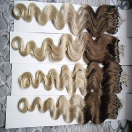 Discount blonde human hair micro extensions - Body Wave Micro loop hair extensions 100G 1g strand 100% Human Hair Extension 100s pack brazilian micro ring loop hair e