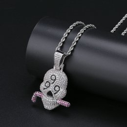 Necklaces Pendants Australia - Ice Out Men Skull Pendant Gold Necklace Jewelry Ice Out Cubic Zirconia Brand Designer Pendant Necklaces
