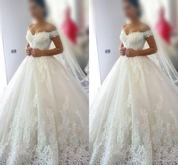 $enCountryForm.capitalKeyWord Australia - 2018 Pure White Simple Design Wedding Dresses Off-Shoulder Short Sleeve Lace Appliques Bridal Dresses Charming Wedding Gowns