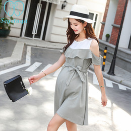 627150fe878 2260  Stylish Ruffle Strapless Ties Waist Maternity Dress 2018 Summer  Korean Fashion Clothes For Pregnant Women Pregnancy Wear Y190522