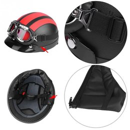 Half Helmet Goggles Australia - Universal Motorcycle Scooter Synthetic Leather Open Face Half Helmet Visor UV Goggles Black Red White Blue Pink New arrives