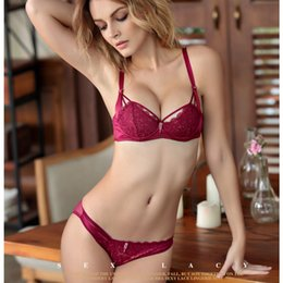 New Arrival French Young Girls Bra Sets 1 2 Thin Cup Bras Sexy Lace  Embroidery Lingerie underwear set a727dc68f