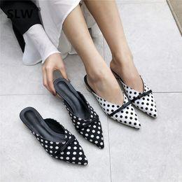 d2550c688542 polka dot bow-knot pointed toe mules shoe luxury brand design strange style  slides female Leisure black Rome Slides women