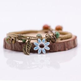 $enCountryForm.capitalKeyWord Australia - Women's Flower leaf Ceramic hand made DIY Bracelets Artware Retro bracelet for woman girl gift Jewelery wholesale