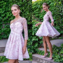 Beautiful lace cocktail dresses online shopping - Beautiful Lilac Lace Flora Homecoming Dresses Sheer One Shoulder Long Sleeve Mini Short Cocktail Dress Mother Dress Formal