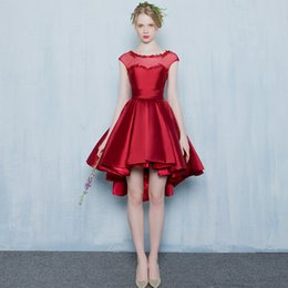 Lace Up Short Red Cocktail Dresses Australia - Evening Gowns High Low Evening Dresses Cocktail Mini Sexy Party Dresses Lace Up Elegant Prom Dress Navy Blue Red Homecoming Women Dresses