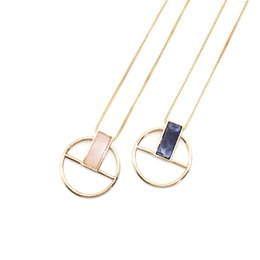 $enCountryForm.capitalKeyWord Australia - Rectangle Rose Quartz Blue Natural Stone Pendant Necklace Long Gold Chain Necklaces Geometric Circle Accessories Jewelry