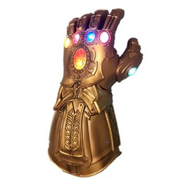 Wholesale Marvel Avengers 4 Endgame Thanos Cosplay Gauntlet LED Light PVC Gloves for Boys Halloween Party Event Props Thanos Glove Adult Kids