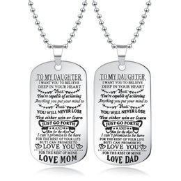 wholesale fathers day gifts 2019 - Family Necklace Silver Stainless steel Tag TO MY SON TO MY DAUGHTER ALWAYS LOVE DAD MOM Pendant Necklace For Mother Fath