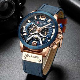 $enCountryForm.capitalKeyWord Australia - Curren Sport Watch Men Top Brand Luxury Chronograph Men Watches Leather Fashion Quartz Man Clock Waterproof Wristwatches Y19052301