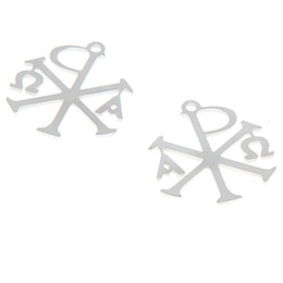 StainleSS Steel chi pendant online shopping - 5pcs Cross Alpha and o charm Chi Rho and Constantine cross Christmas Stainless steel Charm pendant x25mm
