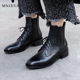 $enCountryForm.capitalKeyWord Australia - MNIXUAN Fashion Boots 2019Women Shoes Spring Boots Women genuine leather lace up brown block heel shoes ankle boot