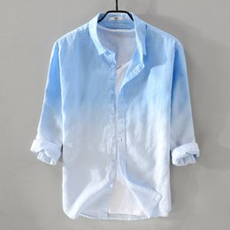 aee6720a4 Mens Linen Shirts NZ - 2018 New Summer Men's Linen Shirt Men Brand  Three-quarter