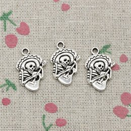 Guitar Traditional Australia - 105pcs Charms skull in sombrero with guitar 22*15mm Tibetan Silver Vintage Pendants For Jewelry Making DIY Bracelet Necklace