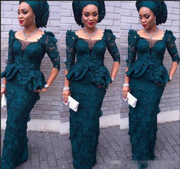 $enCountryForm.capitalKeyWord Australia - Luxury Aso Ebi Style Modest Full Lace Evening Dresses Mermaid Juliet Square Long Sleeves Peplum Formal Dresses Dark Green Women Prom Gowns