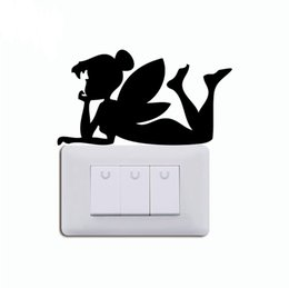 fairy mirror wall stickers 2020 - 15.1*8.3cm fairy silhouette vinyl switch sticker funny catoon wall sticker CA-575