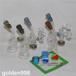 14.5mm quartz nail bangers UK - Dab Oil Rigs bong with 14.5mm Male Joint Recycler Glass Bong Perc Quartz Banger Glass Water Pipes quartz nail glass bowl
