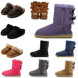 Slipper Sheep online shopping - 2020 Wgg Australia Boots Slides Winter Luxury Designer Flip Boots Red Black Grey Pink Purple Sheep Fur Brand Womens warm Boots Slippers