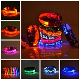 Discount lighted breakaway dog collar - Cat Dog Camouflage Led Lighting Night Pet Flash Luminous Traction Camo Ring Collar Accessories 7 Colors AAA2206