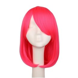 $enCountryForm.capitalKeyWord UK - Women Girls Bob Straight Cosplay Wig Costume Party Black White BLue Red Pink 40 Cm Synthetic Hair Wigs