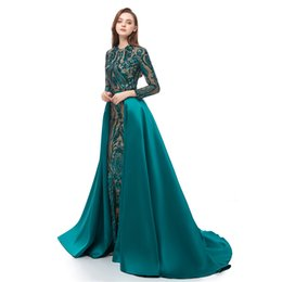074977acdc Fishtail Prom Gowns UK - Eremald Green Mermaid Prom Dresses with Detachable  Train 2019 Luxury Sequins