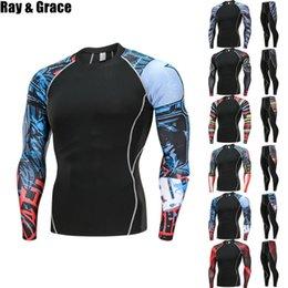 Compression Suits Australia - Ray Grace 2pcs   Sets Men Compression Running Jogging Tights Suits Sport Long T-shirt Pants Gym Fitness Workout Clothes Q190517