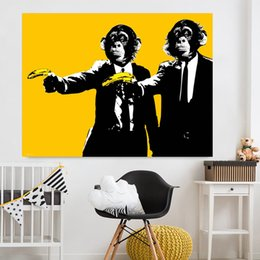 $enCountryForm.capitalKeyWord NZ - 1 Piece Banana Monkey Wall Pictures Creative Oil Painting Print Canvas Top Idea Decor Wall Art For Wall Painting No Framed