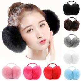 Pink Ear Muffs Wholesale NZ - 2019 Furry Earmuff Women Men Winter Warm Fuax Rex Farms Rabbit Fur Earmuffs Ear Muffs Gift