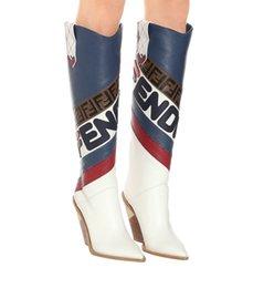 Azul Blanco Rojo Rodilla de cuero Botas altas de vaquero Punta estrecha Diseñador de la marca Tacones altos Botas de otoño Zapatos de mujer Raya de cuero real Mujer