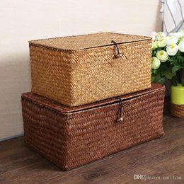$enCountryForm.capitalKeyWord NZ - European Creative See Grass Straw Handmade Woven Basket With Cover Rattan Box Bin Storage Sundries Holder Home Decor