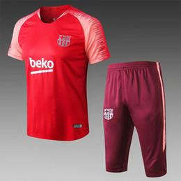 2019/20 football maillot d'entraînement d'entraînement de football à manches courtes 3/4 pantalons version de joueur 9 Suárez 11 DEMBELE 14 COUTINHO maillots de