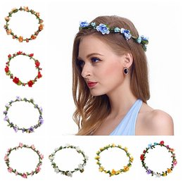 $enCountryForm.capitalKeyWord Australia - Flowers Wreaths Hairband Fashion Bride Bohemian Flower Headband Wedding Floral Garland Headwear Party Hair Accessories TTA1578